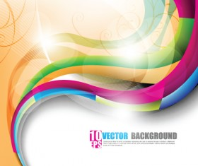 Shiny Colorful wave backgrounds art vector 05