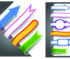 Colour bookmarks with arrow vector graphics 01