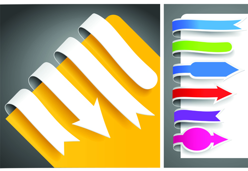 Colour bookmarks with arrow vector graphics 02