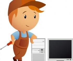 Funny Computer repair service elements vector 04