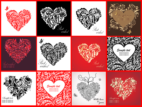 Different Heart Design Elements Vector Vector Heart