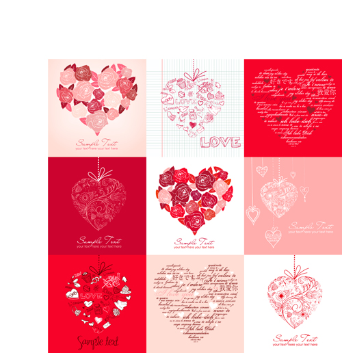 Different Valentine hearts cards vector Vector Card Vector – Valentine Heart Cards