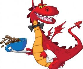 lovely Dragon cartoon elements vector 01