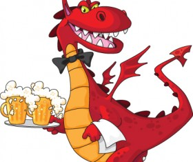 lovely Dragon cartoon elements vector 02