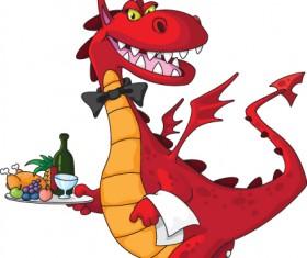 lovely Dragon cartoon elements vector 04
