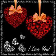 Link toElegant hearts valentine ornaments art vector 01