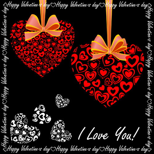 Elegant hearts Valentine ornaments art vector 01