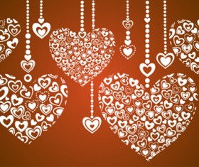 Elegant hearts Valentine ornaments art vector 04