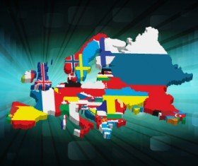 Set of Flags and continents elements vector 01