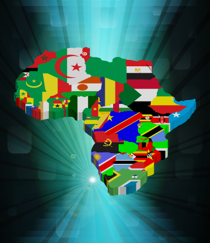 Set of Flags and continents elements vector 02