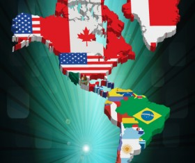 Set of Flags and continents elements vector 03