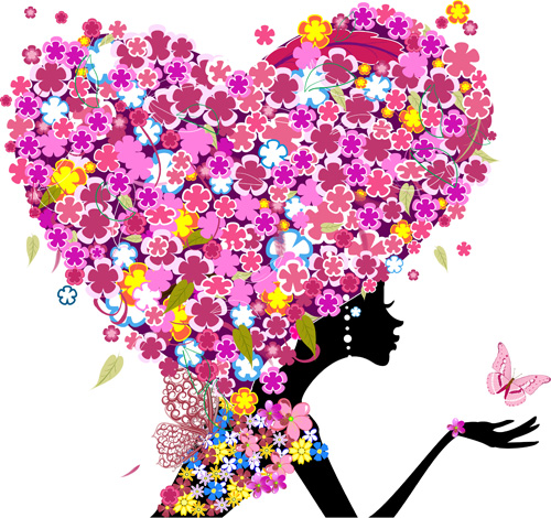 Floral girls with Valentine vector 01