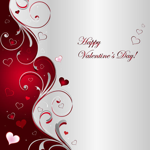 Floral hearts valentine day vector backgrounds 02 free - M r love wallpaper ...