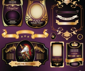 Gold label with retro style vector set 01