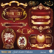 Link toGold label with retro style vector set 02