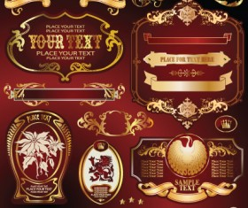 Gold label with retro style vector set 02