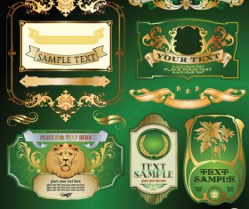 Gold label with retro style vector set 03