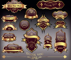 Gold label with retro style vector set 04
