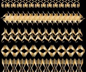 Set of Golden border and ornament design vector 01