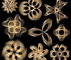 Set of Golden border and ornament design vector 02