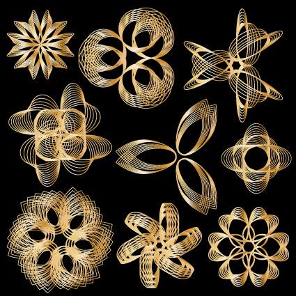 Set of Golden border and ornament design vector 02 free download