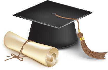 Elements of Graduation cap and diploma design vector material 01