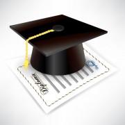 Link toElements of graduation cap and diploma design vector material 05