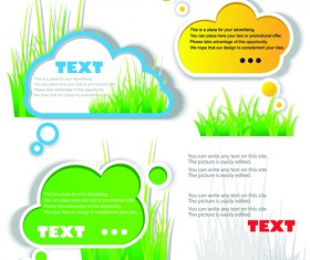 Green grass with cloud for text vector material 01