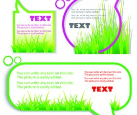 Green grass with cloud for text vector material 02