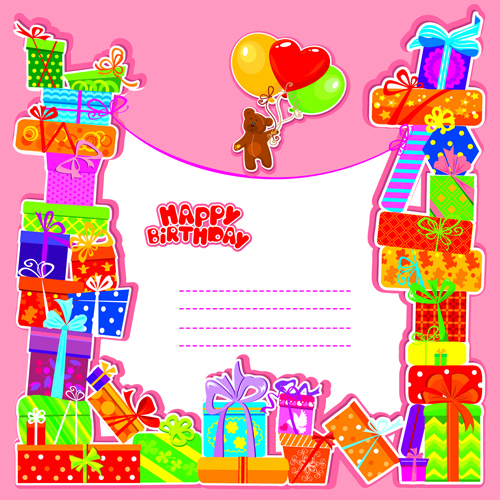 Happy Birthday Gift Cards Design Vector 02 Free Download