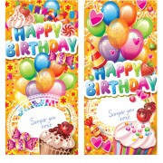 Link toHappy birthday elements cover balloons and cake vector 04