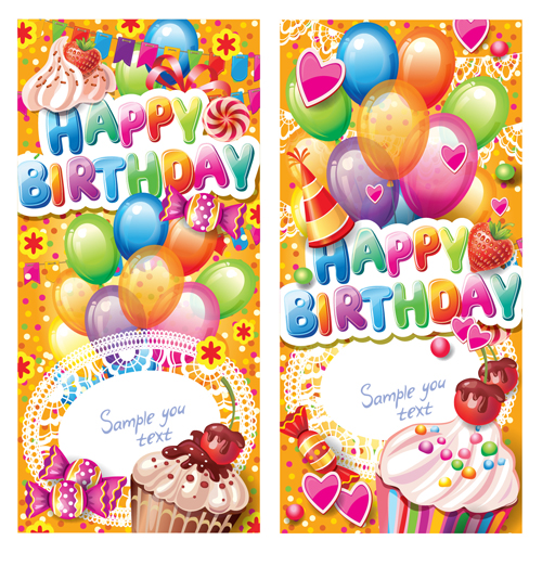 Happy Birthday elements cover Balloons and cake vector 04