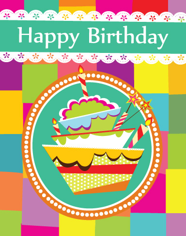 vector set of Happy birthday cake card material 01