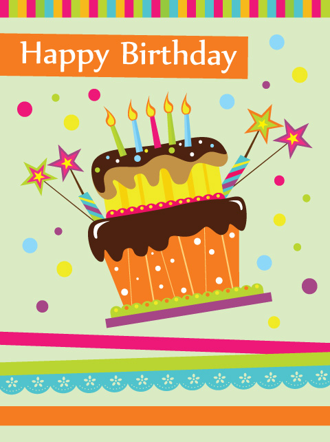 vector set of Happy birthday cake card material 02