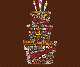 vector set of Happy birthday cake card material 03