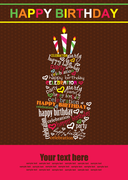 vector set of Happy birthday cake card material 03 Vector – Vector Birthday Card
