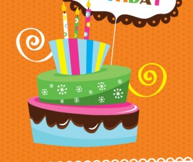 vector set of Happy birthday cake card material 04