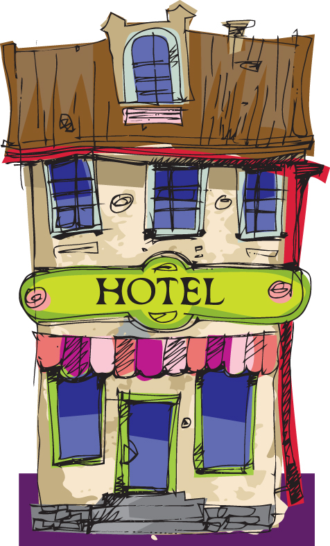 Hand drawn funny Hotel vector graphics 01 - Vector Architecture free ...