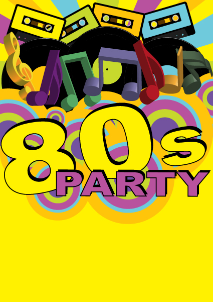 Elements of Music 80s party flyer design vector 04 Vector Cover – 80s Party Invitations Template Free