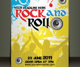 Creative Music flyer Rock and Roll design vector 01
