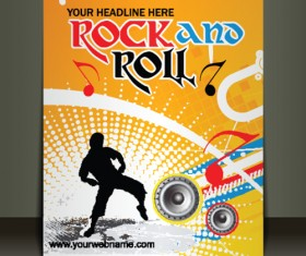 Creative Music flyer Rock and Roll design vector 02