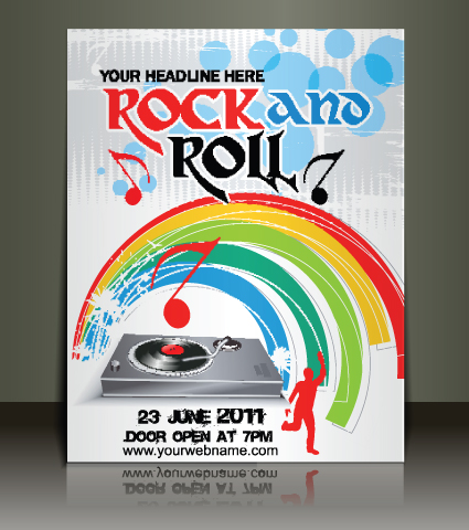 Creative Music flyer Rock and Roll design vector 03