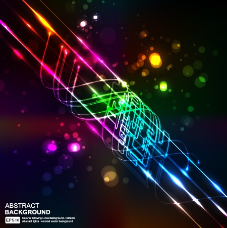 Elements Of Neon Abstract Vector Backgrounds 05 Free Download