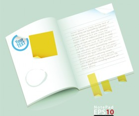 Vector of Open notebook design elements 02