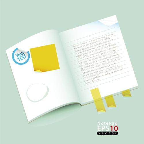 Vector of Open notebook design elements 02