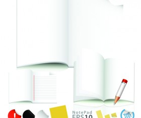 Vector of Open notebook design elements 03