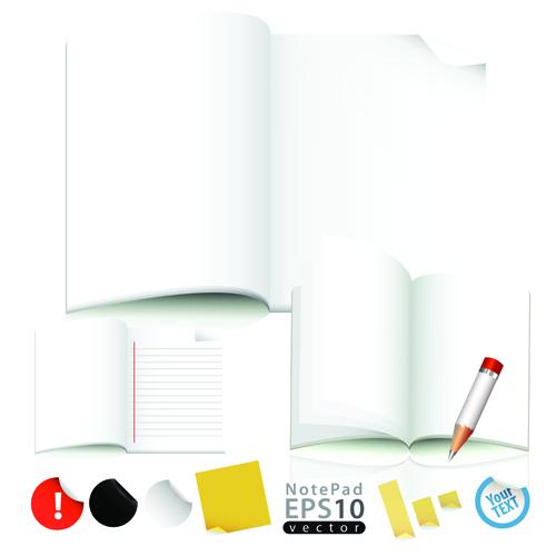 Vector of Open notebook design elements 03