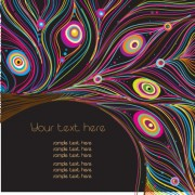 Vector set of peacock feather background art 04