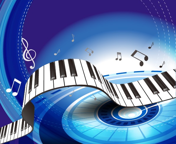 Set Of Piano Backgrounds Vector Graphics 04 Vector