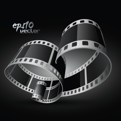 Elements of Realistic 3d film reel design vector set 01